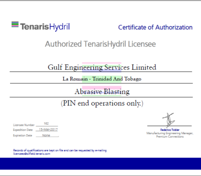 162 Gulf Engineering Services Limited - Abrasive Blasting Certificate